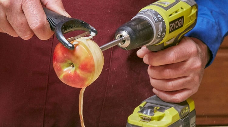 peeling apples with cordless drill