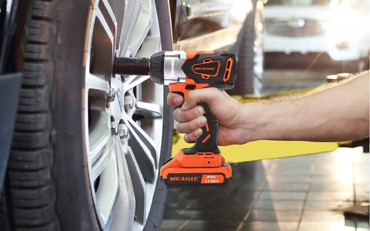 car maintenance with impact wrench