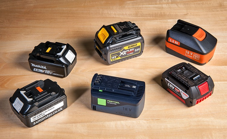six batteries for power tools
