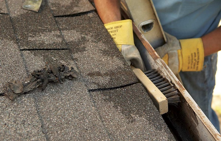 clean gutters with brush