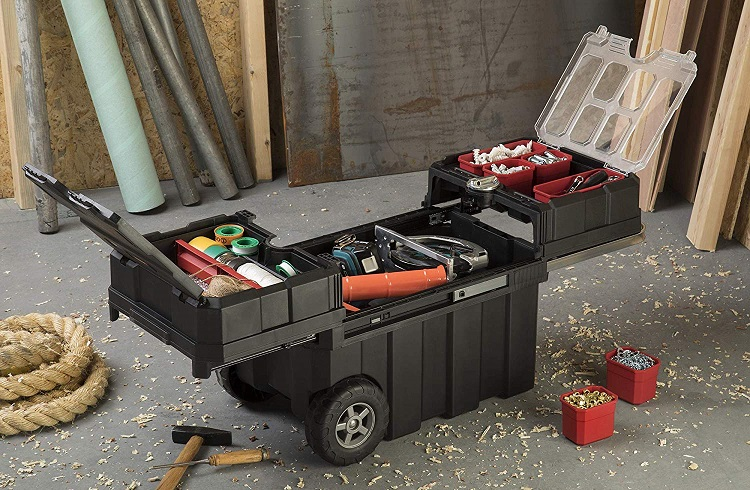 rolling tool box with organized tool