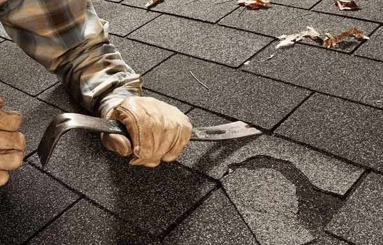 removing tile with pry bar