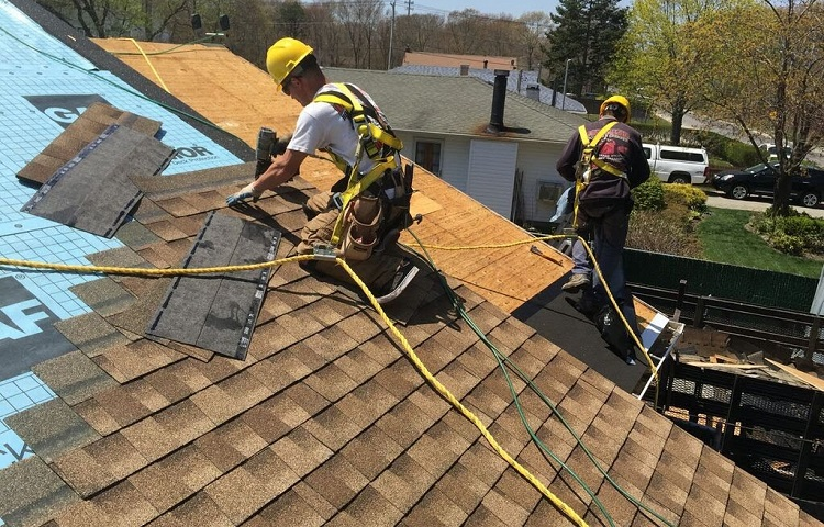 three point safety harness for working on roof